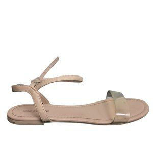 Call It Spring Beige Sandals with Clear Strap
